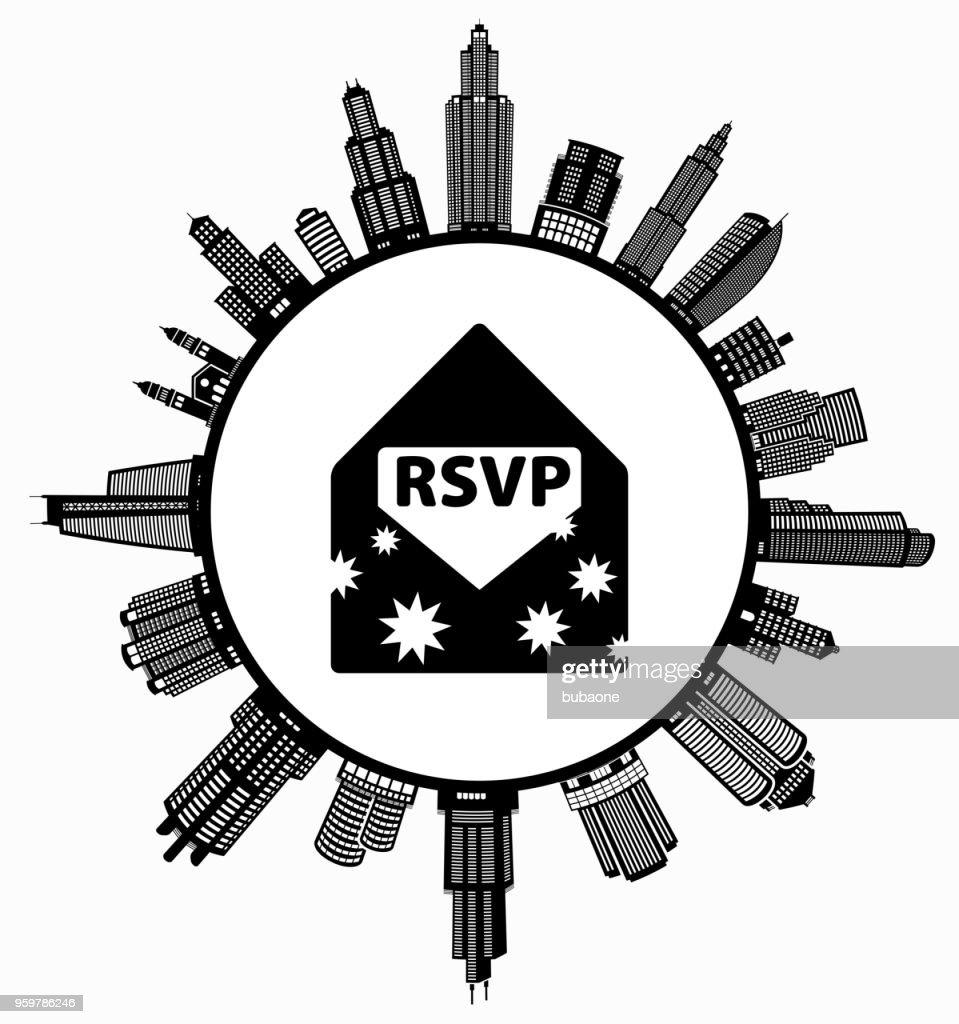 RSVP Umschlag auf modernen Stadtbild Skyline Hintergrund : Stock-Illustration