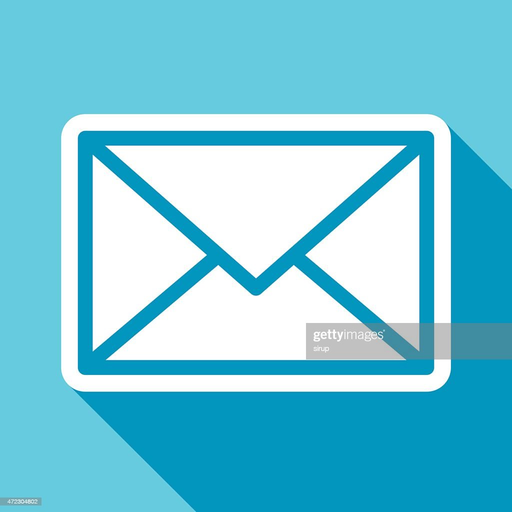 Envelope or mail icon with shadow