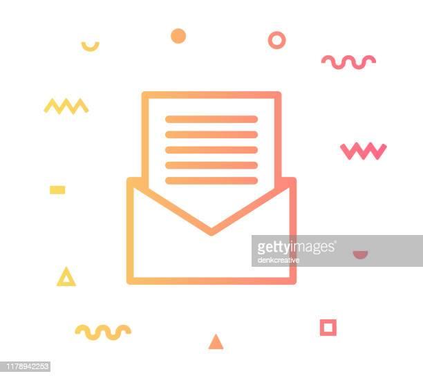 envelope vector icon line illustration - newsletter stock illustrations