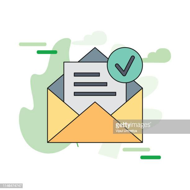 envelope with confirmed document. vector outline icon - validation stock illustrations, clip art, cartoons, & icons