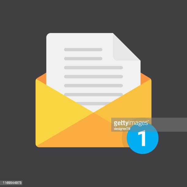 envelope with document and notification flat design. - outbox filing tray stock illustrations
