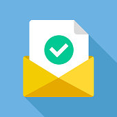 Envelope with document and round green check mark icon. Successful e-mail delivery, email delivery confirmation, notification, subscription confirmed, successful verification concepts. Modern flat design vector icon