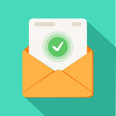 Envelope with document and round green check mark icon. Successful e-mail delivery, email delivery confirmation