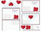 Envelope with heart, vector illustration