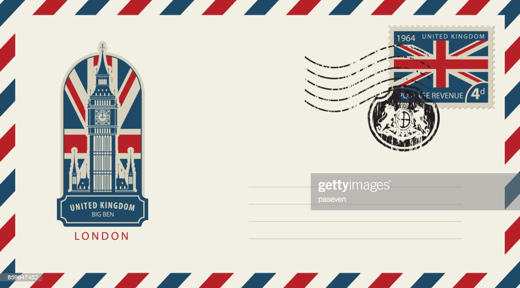 envelope with London Big Ben and flag of uk