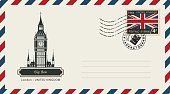 envelope with postage stamp with London Big Ben