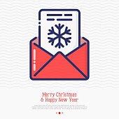 Envelope with snowflake inside. Thin line vector illustration of Christmas and New year congratulations.