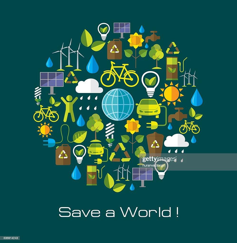Medio ambiente y ecología banner con iconos plana. : Arte vectorial