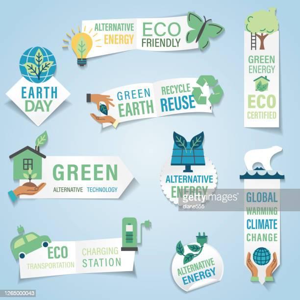ilustraciones, imágenes clip art, dibujos animados e iconos de stock de etiqueta engomada del banner del entorno - medio ambiente