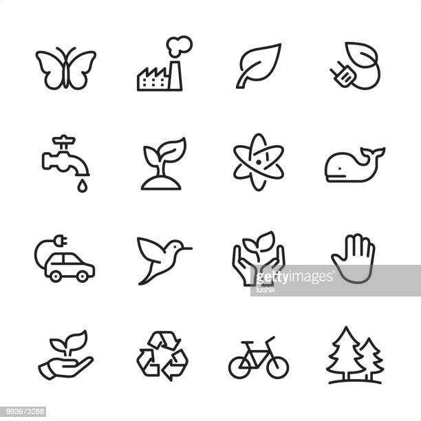 environment conservation - outline icon set - insect stock illustrations