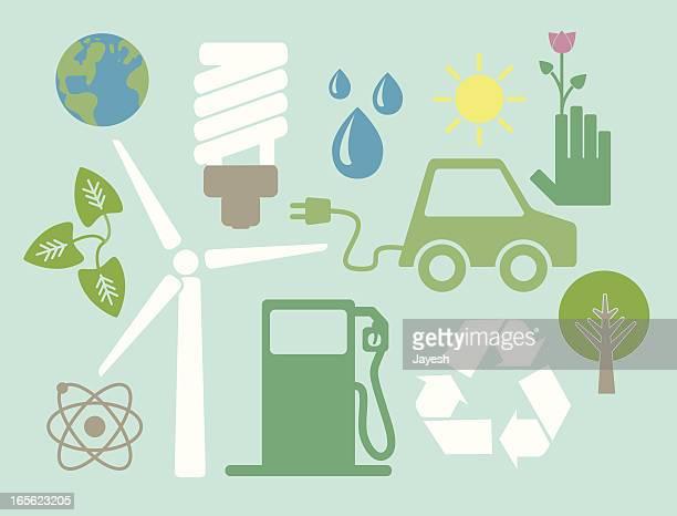 environment energy fuel icon set - hybrid car stock illustrations, clip art, cartoons, & icons