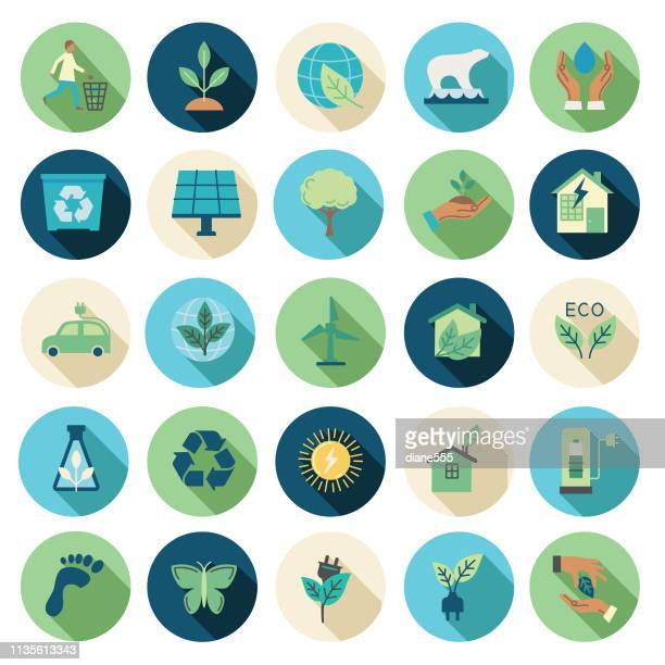 stockillustraties, clipart, cartoons en iconen met omgeving platte ontwerp icon set - milieu