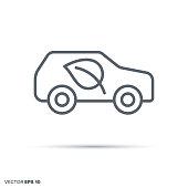 Environment friendly car. Green transportation vector line icon.