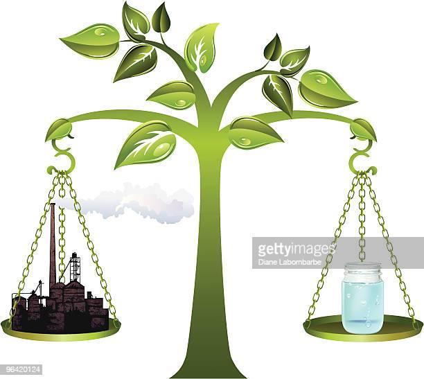 stockillustraties, clipart, cartoons en iconen met environment - industry balance - scales balance