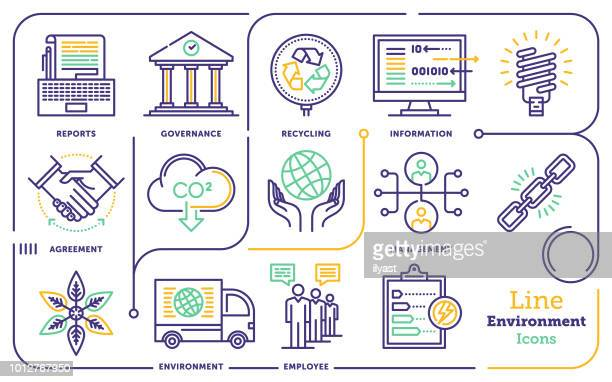 environment line icon set - politics and government stock illustrations