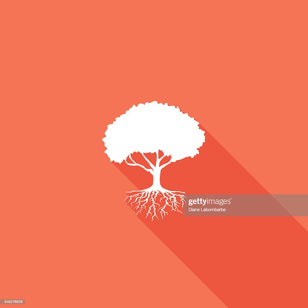 Environment Nature Flat Color Icon - Long Shadow : stock illustration