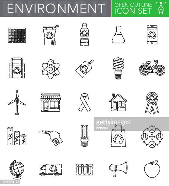 Environment Open Outline Icon Set