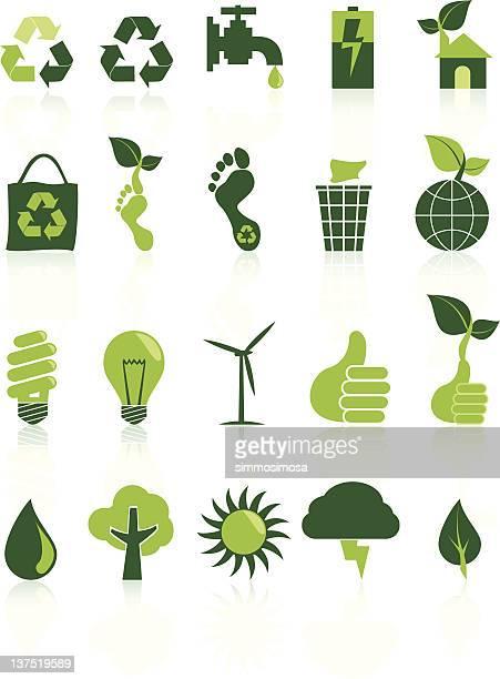 stockillustraties, clipart, cartoons en iconen met environment recycle icon set - koolstofvoetafdruk