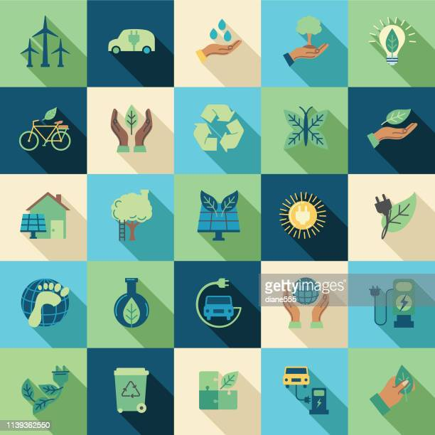 environment thin line icon set - electric vehicle charging station stock illustrations