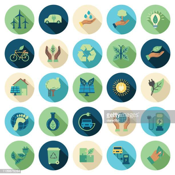 illustrations, cliparts, dessins animés et icônes de ensemble d'icônes de ligne mince d'environnement - design plat