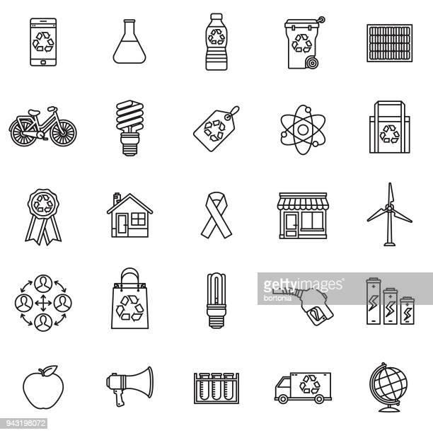 ilustraciones, imágenes clip art, dibujos animados e iconos de stock de medio ambiente conjunto de iconos de línea delgada - molino de viento