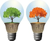 Environmental Awareness Old Style Incandescent Lightbulbs with Trees Inside