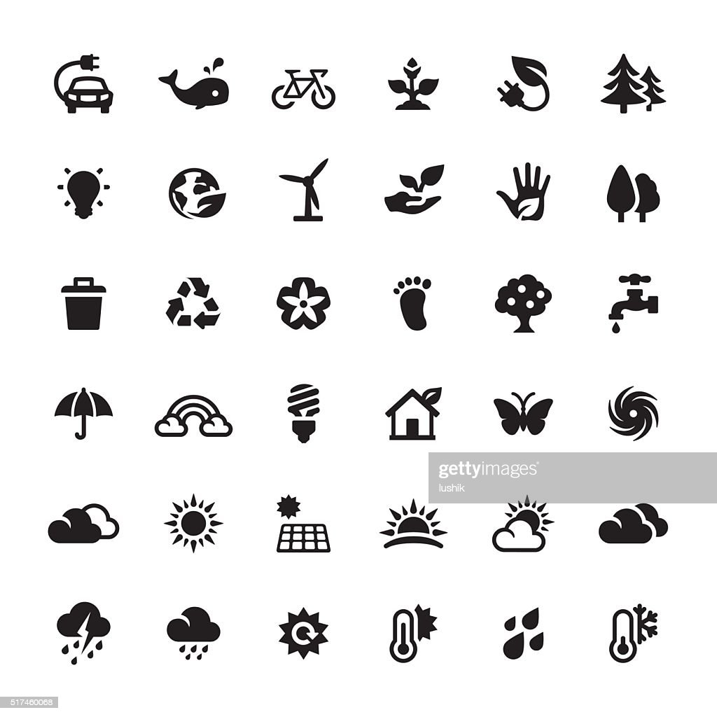 Environmental Conservation and Alternative Energy vector symbols and icons