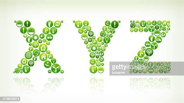 stockillustraties, clipart, cartoons en iconen met xyz environmental conservation green vector button pattern. - generation z