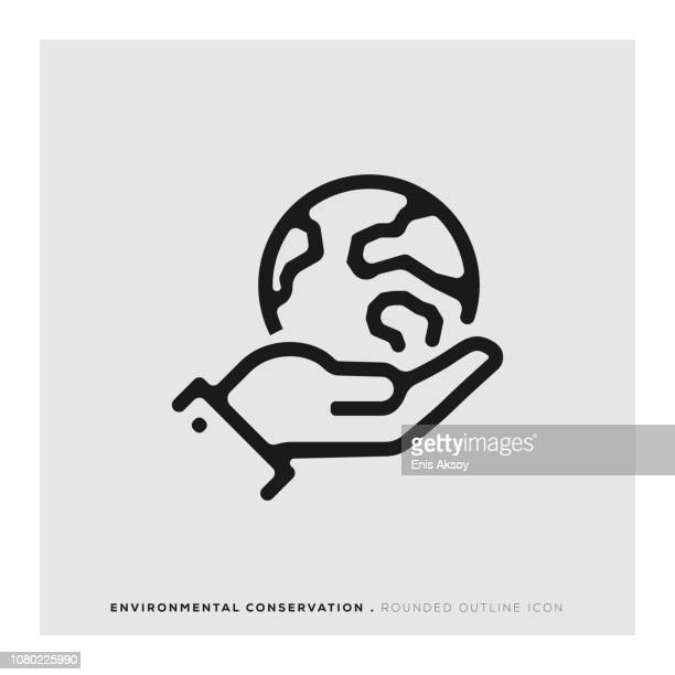environmental conservation rounded line icon - climate stock illustrations