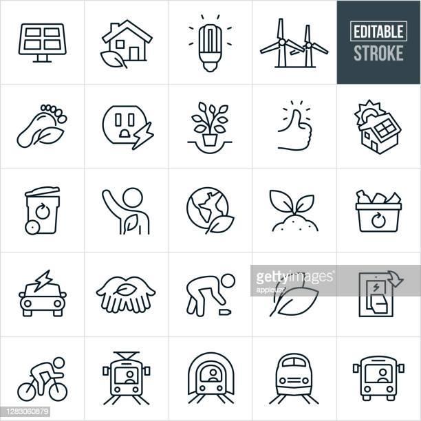 bildbanksillustrationer, clip art samt tecknat material och ikoner med miljövård tunn linje ikoner - redigerbar stroke - hållbar energi