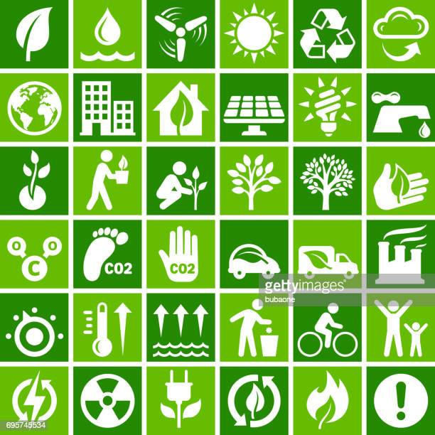 environmental conservation vector icon set in green - environnement stock illustrations, clip art, cartoons, & icons