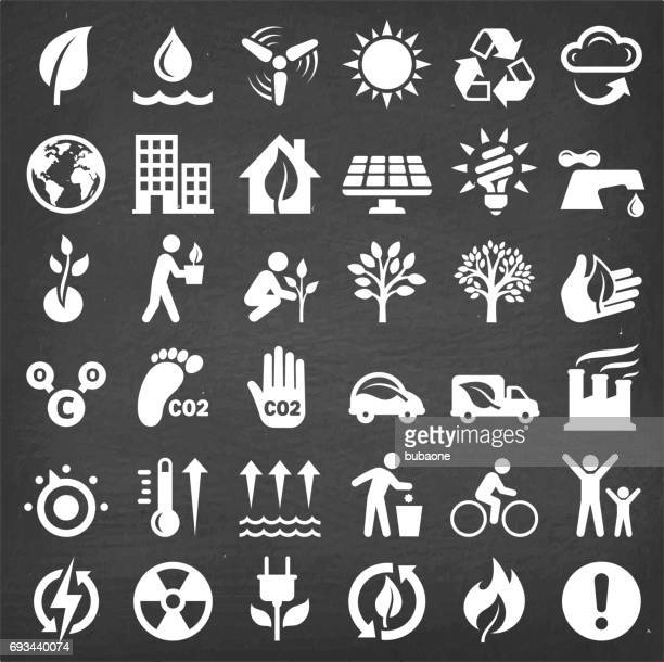 Environmental Conservation vector icon set on Black Chalkboard