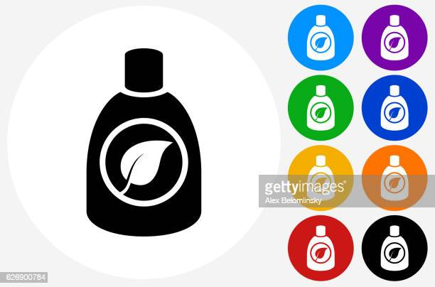 environmental detergent icon on flat color circle buttons - laundry detergent stock illustrations, clip art, cartoons, & icons