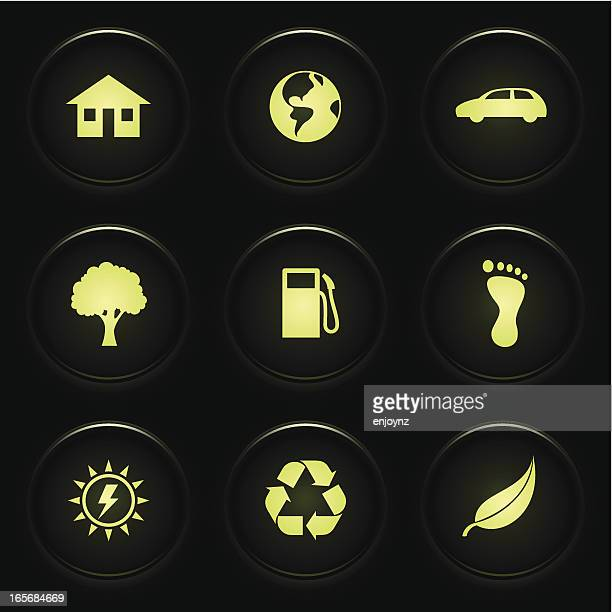 stockillustraties, clipart, cartoons en iconen met environmental icons - koolstofvoetafdruk