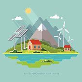 Environmental landscape cottages mountains. Solar and wind energy. Environmental protection