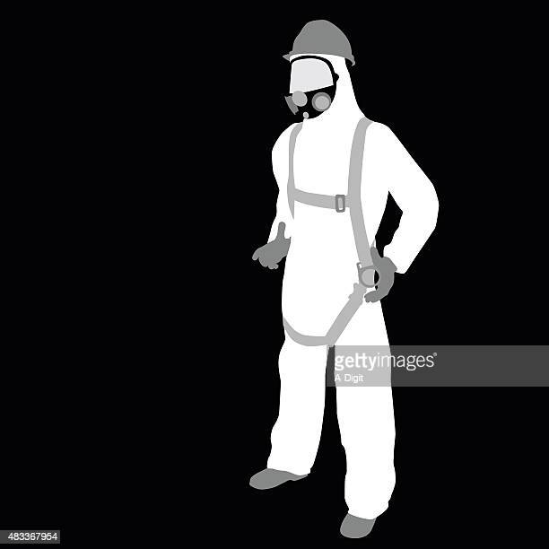 environmental worker - protective workwear stock illustrations, clip art, cartoons, & icons