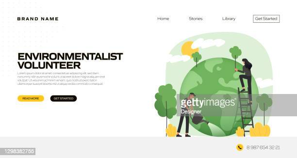 environmentalist concept vector illustration for landing page template, website banner, advertisement and marketing material, online advertising, business presentation etc. - environmental issues stock illustrations