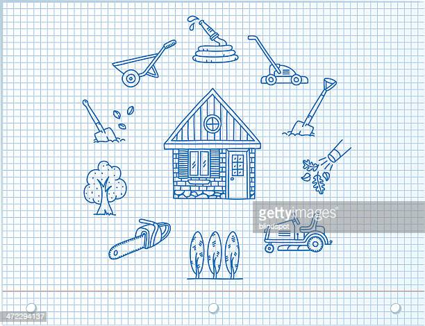 environmentally friendly home icons - leaf blower stock illustrations, clip art, cartoons, & icons