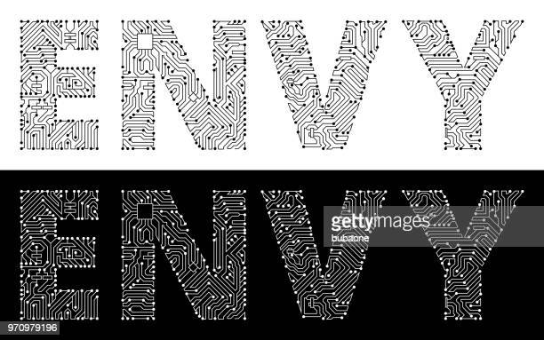 envy in black and white circuit board font - the grass is always greener stock illustrations, clip art, cartoons, & icons