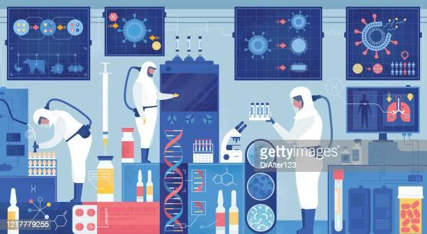 illustrazioni stock, clip art, cartoni animati e icone di tendenza di epidemiology lab vaccino antivirus o ricerca sui farmaci - ricerca