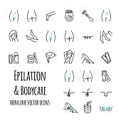 Epilation and bodycare thin line icons set