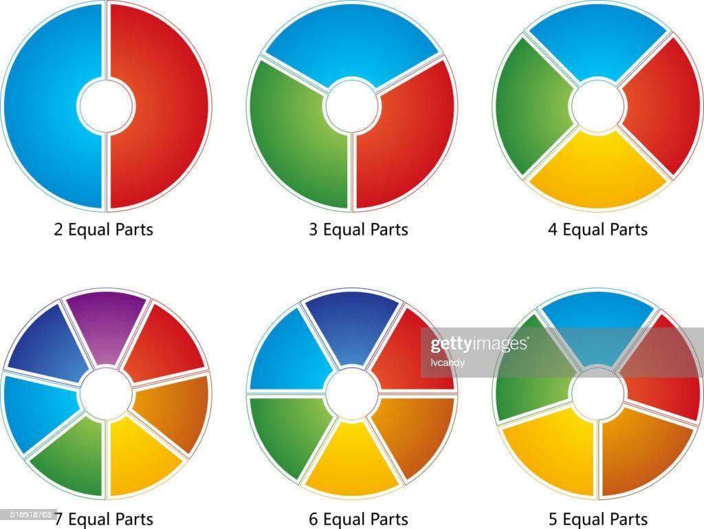 (2-7) zu gleichen Teilen : Stock-Illustration