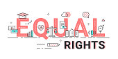 Equal Rights Sign Vector Illustration. Human Rights, Equality in Society Concept