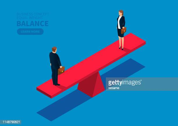 equal weight male businessman and businesswoman - balance stock illustrations
