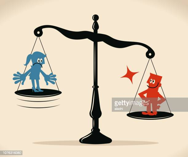 equal-arm balance scale with businesswoman and businessman - battle of the sexes concept stock illustrations