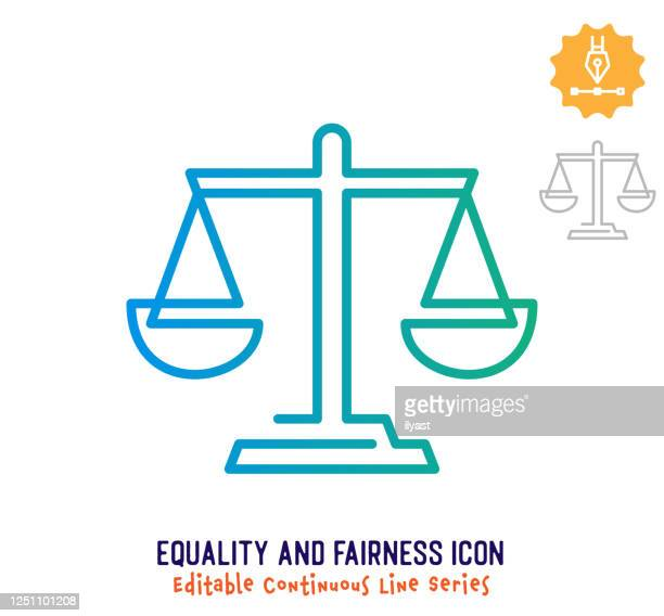 equality & fairness continuous line editable stroke line - balance stock illustrations
