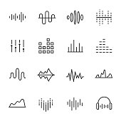 Equalizer, icon set. Sound wave, linear icons. Line with editable stroke
