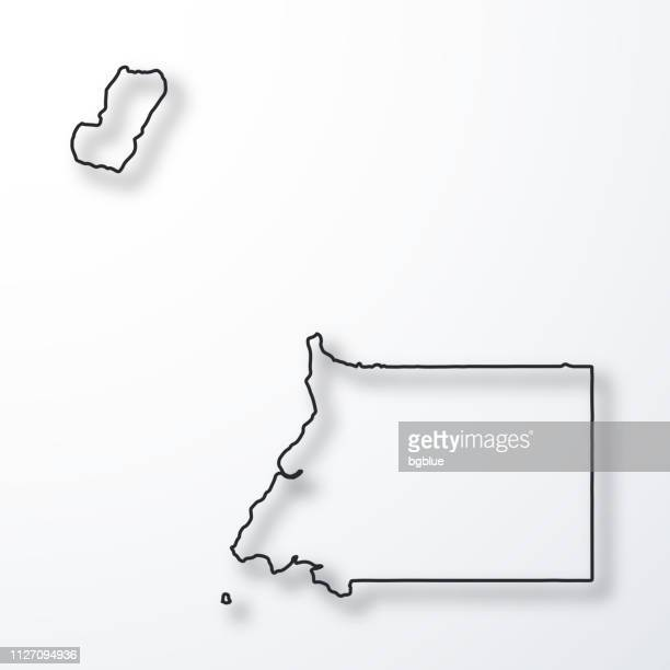 Carte de la Guinée équatoriale - noir contour avec ombre sur fond blanc