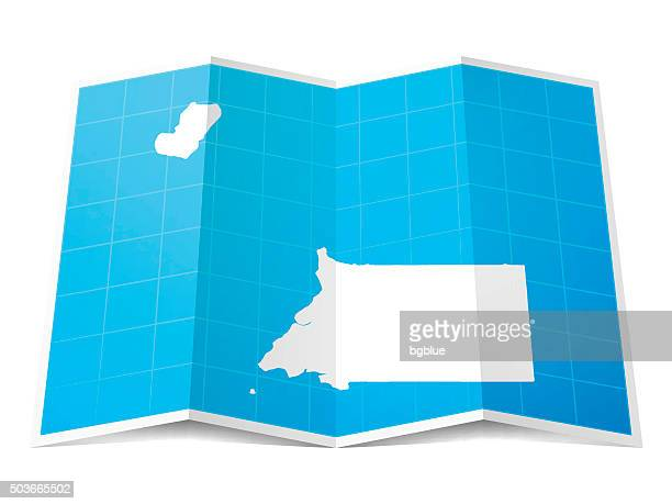 stockillustraties, clipart, cartoons en iconen met equatorial guinea map folded, isolated on white background - bloco