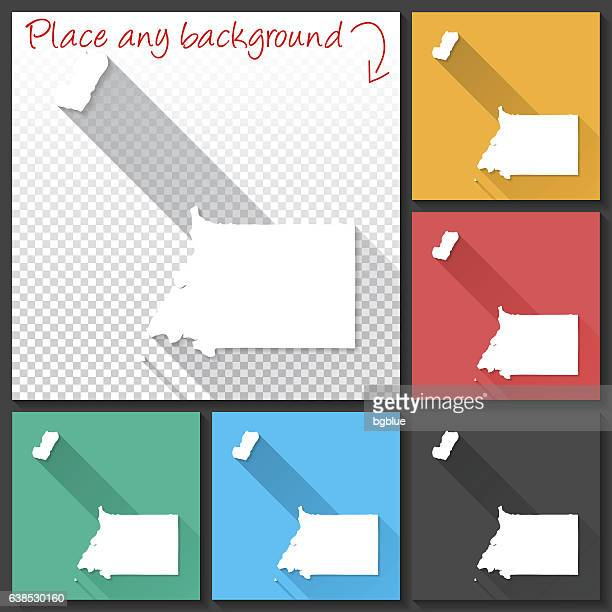 stockillustraties, clipart, cartoons en iconen met equatorial guinea map for design, long shadow, flat design - bloco